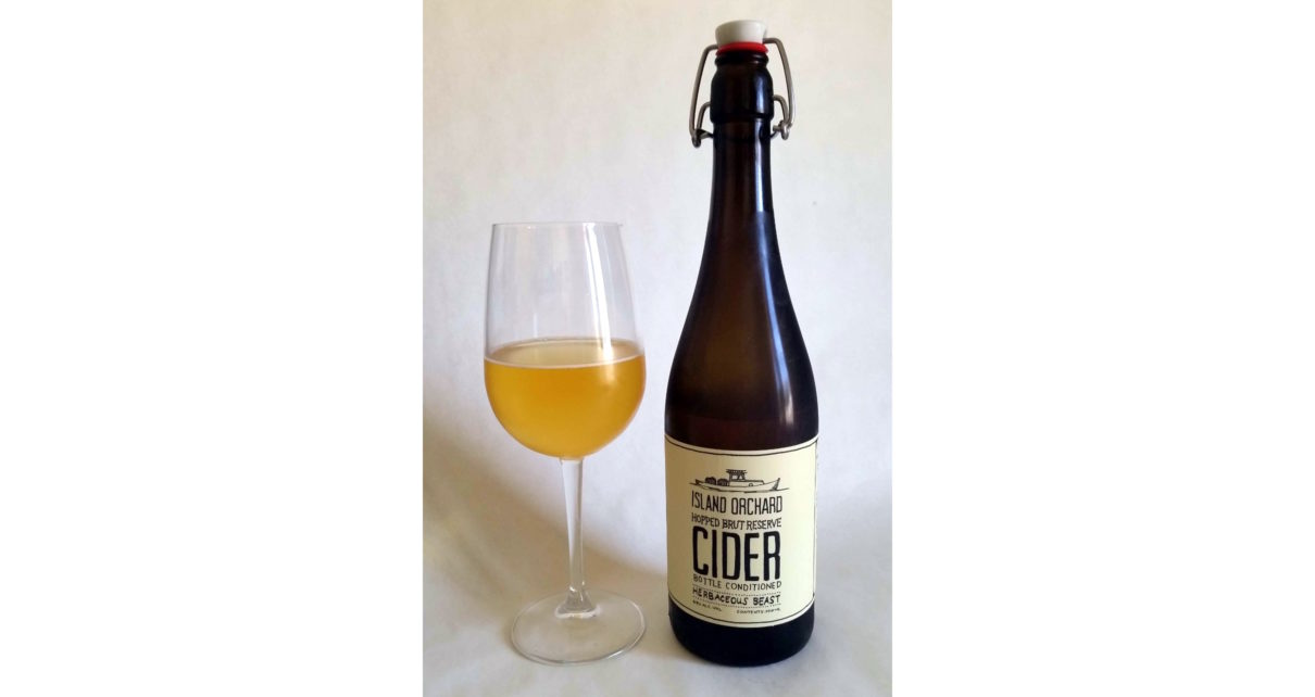 Island Orchard Cider Herbaceous Beast Hopped Brut Reserve Cider